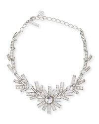 Oscar de la Renta - Metallic Modern Baguette Crystal Necklace - Lyst