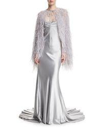 Monique Lhuillier | Metallic Crepe-back Satin Cross-back Gown | Lyst