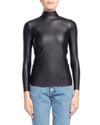 Balenciaga - Black Spandex Tie-back Mock-neck Top - Lyst