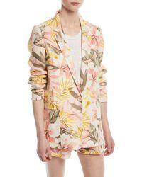 Joie - Pink Kishina Printed One-button Linen Blazer - Lyst