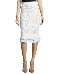 Oscar de la Renta - White Lace Ruffle-hem Pencil Skirt - Lyst