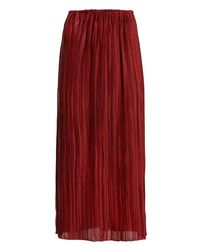The Row | Red Juri Pleated Silk Midi Skirt | Lyst