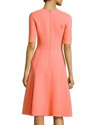 Lela Rose - Pink Half-sleeve Wool Crepe Dress - Lyst