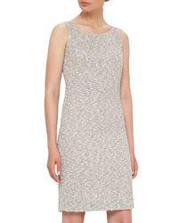 Akris - White Sleeveless Boucle Sheath Dress - Lyst