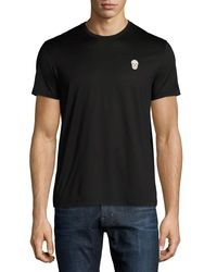 Alexander McQueen | Black Cotton Crewneck T-shirt With Metal Skull for Men | Lyst