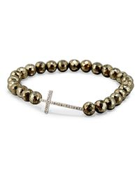 Sydney Evan - Metallic Faceted Champagne Pyrite Bead Bracelet With Diamond Cross Station - Lyst