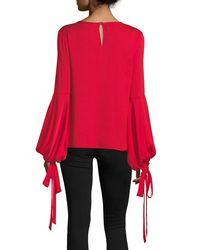 MILLY - Red Juliette Dramatic Bishop-sleeve Stretch-silk Top - Lyst