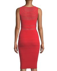 Narciso Rodriguez - Red Round-neck Sleeveless Fitted Open-weave Knit Dress - Lyst