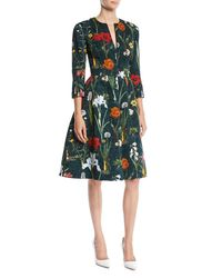 Oscar de la Renta Green Split-neck 3/4-sleeve Fit-and-flare Floral-embroidered Knee-length Day Dress
