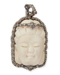 Armenta | White Bone Buddha Enhancer With Champagne Diamonds | Lyst