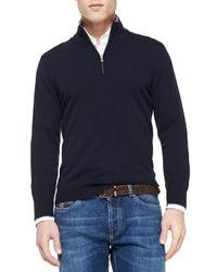 Brunello Cucinelli | Blue Cashmere Half-zip Sweater for Men | Lyst