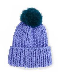 Eugenia Kim | Blue Rain Hat With Fur Pom Pom | Lyst