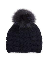 Inverni - Gray Cashmere Cable-knit Beanie Hat W/fur Pom Pom - Lyst