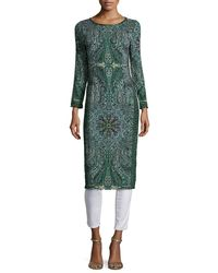 Calypso St. Barth - Green Tito Long-sleeve Printed Dress - Lyst
