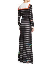 Preen By Thornton Bregazzi - Black Long-sleeve Striped Sailor Bib Dress - Lyst