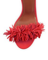 Aquazzura - Pink Wild Thing Suede Fringed Sandals - Lyst