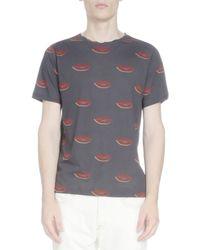 Dries Van Noten - Blue Lip-print Short-sleeve Tee for Men - Lyst