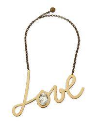 Lanvin - Metallic Golden Love Pendant Necklace - Lyst