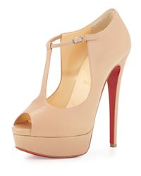 Christian Louboutin | Natural Alta Poppins T-strap Red Sole Pump | Lyst
