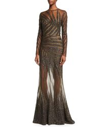 Elie Saab   Black Long-sleeve Palm-embroidered Gown   Lyst