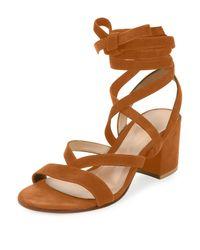 Gianvito Rossi - Orange Cross-Over Suede Sandals  - Lyst