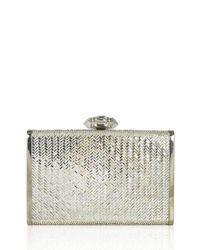 Judith Leiber Couture - Metallic Tall Slender Herringbone Crystal Clutch Bag - Lyst