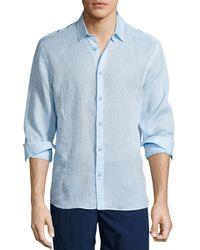 Orlebar Brown | Blue Morton Long-sleeve Linen Shirt for Men | Lyst
