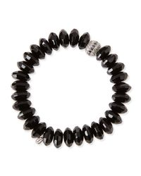 Sydney Evan | 12mm Faceted Black Agate Beaded Bracelet W/ 14k White Gold Diamond Disc | Lyst