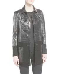Tom Ford | Black Croc-embossed Leather & Suede Coat | Lyst