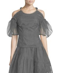 Simone Rocha - Gray Cold-shoulder Tulle Rope-back Top - Lyst