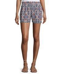 Joie | Black Sibylle Butterfly-print Silk Shorts | Lyst