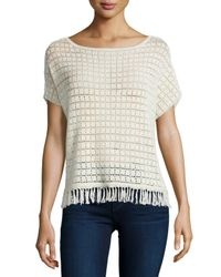 Joie | White Amal Textured Top With Fringe Trim | Lyst