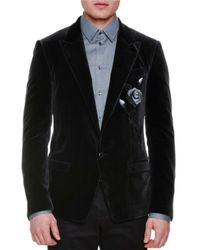 Dolce & Gabbana - Black Rose-embroidered Two-button Velvet Jacket for Men - Lyst