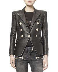 Balmain | Black Classic Leather Double-breasted Blazer | Lyst
