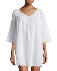 Oscar de la Renta | White Cross-dyed Short Gown With Lace-trim | Lyst