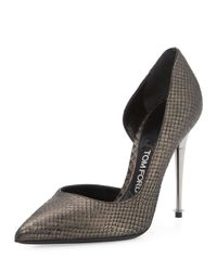 Tom Ford | Black Python Half-d'orsay Pump | Lyst