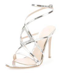 Gianvito Rossi | Rhinestone Metallic Leather Evening Sandal | Lyst
