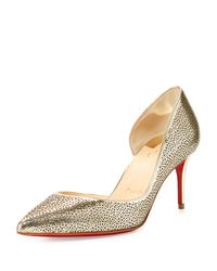 Christian Louboutin | Metallic Galu Half-d'orsay 70mm Red Sole Pump | Lyst