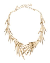 Oscar de la Renta - Metallic Palm Leaf Neck - Lyst