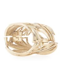 Oscar de la Renta - Metallic Palm Leaf Brac - Lyst