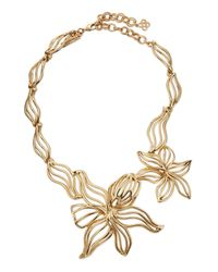 Oscar de la Renta - Metallic Graphic Lily Statement Necklace - Lyst