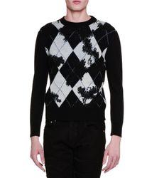 Alexander McQueen | Black Argyle Long-sleeve Crewneck Sweater for Men | Lyst