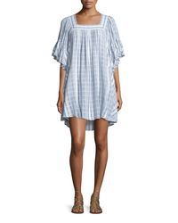 Calypso St. Barth - Blue Batolu Square-neck Striped Dress - Lyst