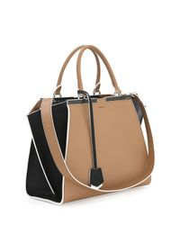 Fendi - Black Trois-jour Petite Bicolor Tote Bag - Lyst