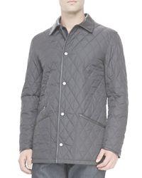 Ferragamo | Black Diamond Quilt Barn Coat for Men | Lyst