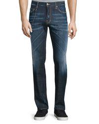 DSquared² | Blue Dean Paint-splatter Denim Jeans With Chain for Men | Lyst