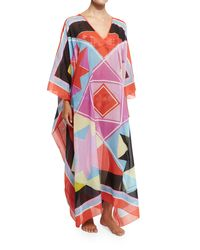 Emilio Pucci | Red Monreale Printed Voile Caftan Coverup | Lyst