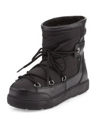 Moncler | Black Fanny Shearling-lined Lace-up Boot | Lyst