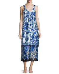 Oscar de la Renta - Multicolor Signature Sleeveless Night Gown - Lyst