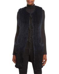 Elie Tahari | Black Jill Long Ribbon-tie Rabbit Fur Vest | Lyst
